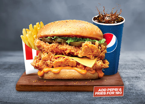 KFC's Zinger Stacker Combo - DrBake.pk Send gifts to Lahore, Send gifts to Karachi, Send gifts to Islamabad, Send gifts to Rawalpindi
