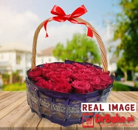 24 Fresh Red Roses Basket With 24 Dairy Milk Chocolates - Dr Bake Pakistan Send gifts to Lahore, Karachi, Islamabad, Pakistan