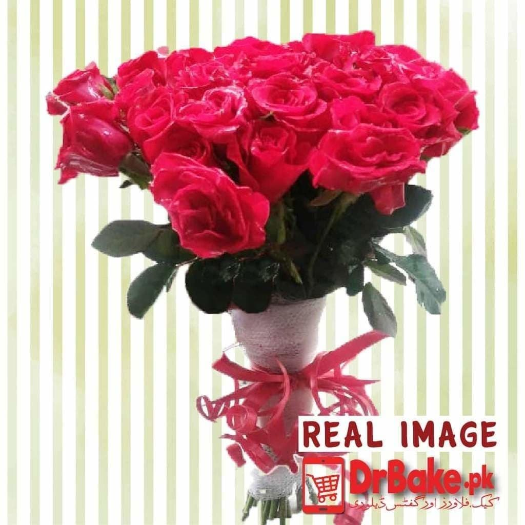 24 Fresh Red Roses Stems - Dr Bake Pakistan Send gifts to Lahore, Karachi, Islamabad, Pakistan