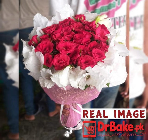 24 Red Fresh Roses Tied With Additional 6 Glad Bouquet - Dr Bake Pakistan Send gifts to Lahore, Karachi, Islamabad, Pakistan