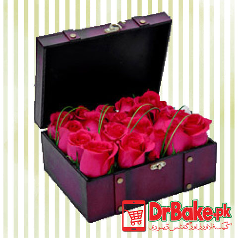 24 Fresh Roses Wooden Box - Dr Bake Pakistan Send gifts to Lahore, Karachi, Islamabad, Pakistan