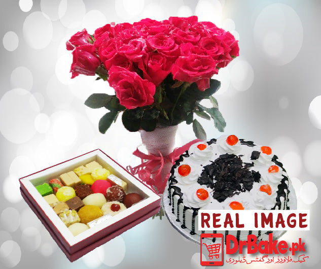 Mix Mithai With 2lb Cake & 24 Roses - Dr Bake Pakistan Send gifts to Lahore, Karachi, Islamabad, Pakistan