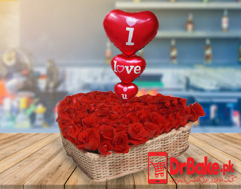 Send Flowers Heart Shaped Basket to Pakistan with DrBake.pk