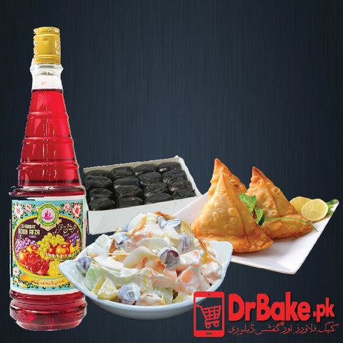 Rooh Afza With Samosay And Fruit Chaat