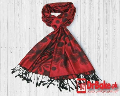 Red and Black Shawl(Printed) For Women - Dr Bake Pakistan Send gifts to Lahore, Karachi, Islamabad, Pakistan