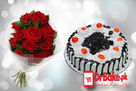 Black Forest Cake With 12 Roses - Dr Bake Pakistan Send gifts to Lahore, Karachi, Islamabad, Pakistan
