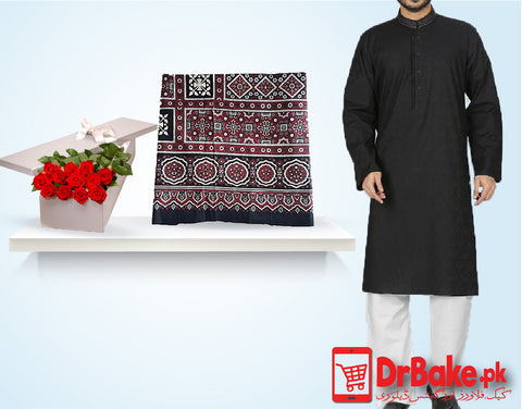 Gents Black Suit With Ajrak and 12 Red Roses Box - Dr Bake Pakistan Send gifts to Lahore, Karachi, Islamabad, Pakistan