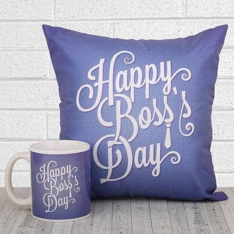 Boss Day Customized Cushion & Mug - Dr Bake Pakistan Send gifts to Lahore, Karachi, Islamabad, Pakistan