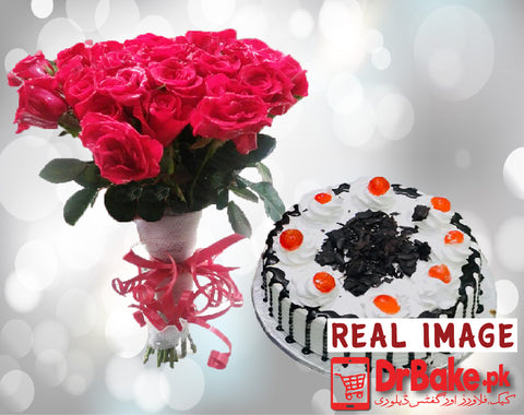 24 Fresh Red Roses Bouquet With 1lb Cake - Dr Bake Pakistan Send gifts to Lahore, Karachi, Islamabad, Pakistan