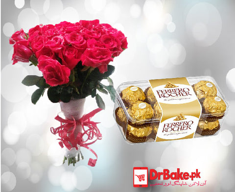 Ferrero Rocher Chocolate With Fresh Red Roses. - Dr Bake Pakistan Send gifts to Lahore, Karachi, Islamabad, Pakistan