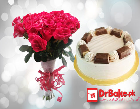 Send Kitkat Cake with Red Roses to Pakistan | DrBake.pk