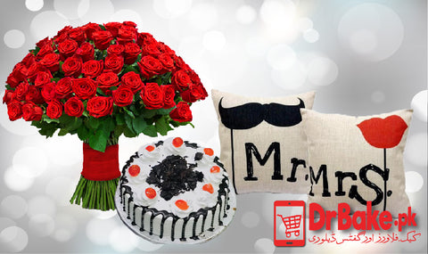 Cake, Cushions & Bouquet - Dr Bake Pakistan Send gifts to Lahore, Karachi, Islamabad, Pakistan