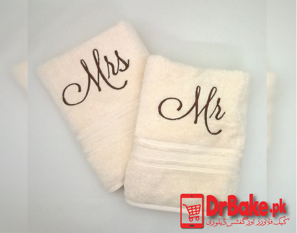 Send Mr and Mrs Customized Towel to Pakistan with DrBake.pk