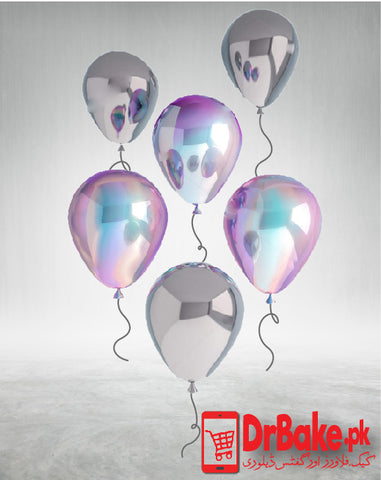Send 6 Pcs 3D render holographic balloons (Only For Lahore) with DrBake.pk