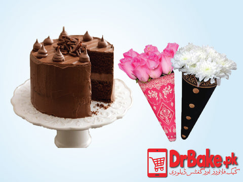 Fudge Cake With Cone Flower - Dr Bake Pakistan Send gifts to Lahore, Karachi, Islamabad, Pakistan