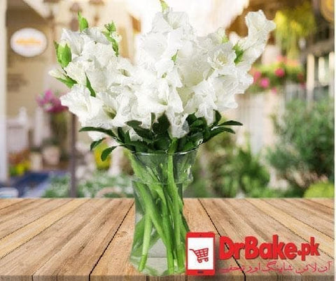 24 Fresh White Glad Vase - Dr Bake Pakistan Send gifts to Lahore, Karachi, Islamabad, Pakistan