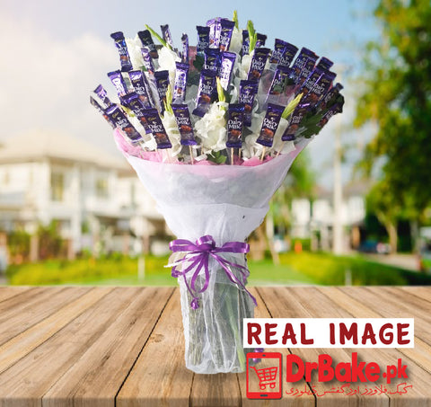 Jumbo Chocolate Bouquet With Fresh Glad - Dr Bake Pakistan Send gifts to Lahore, Karachi, Islamabad, Pakistan