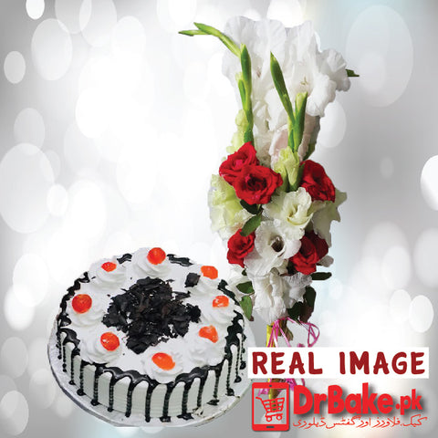 Fresh Gladiolus Bouquet With Cake. - Dr Bake Pakistan Send gifts to Lahore, Karachi, Islamabad, Pakistan