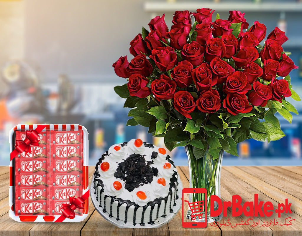 60 Red Roses in Vase Deal - Dr Bake Pakistan Send gifts to Lahore, Karachi, Islamabad, Pakistan