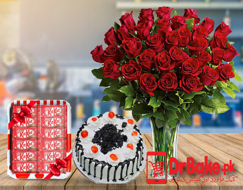 Send 60 Red Roses in Vase Deal to Pakistan with DrBake.pk