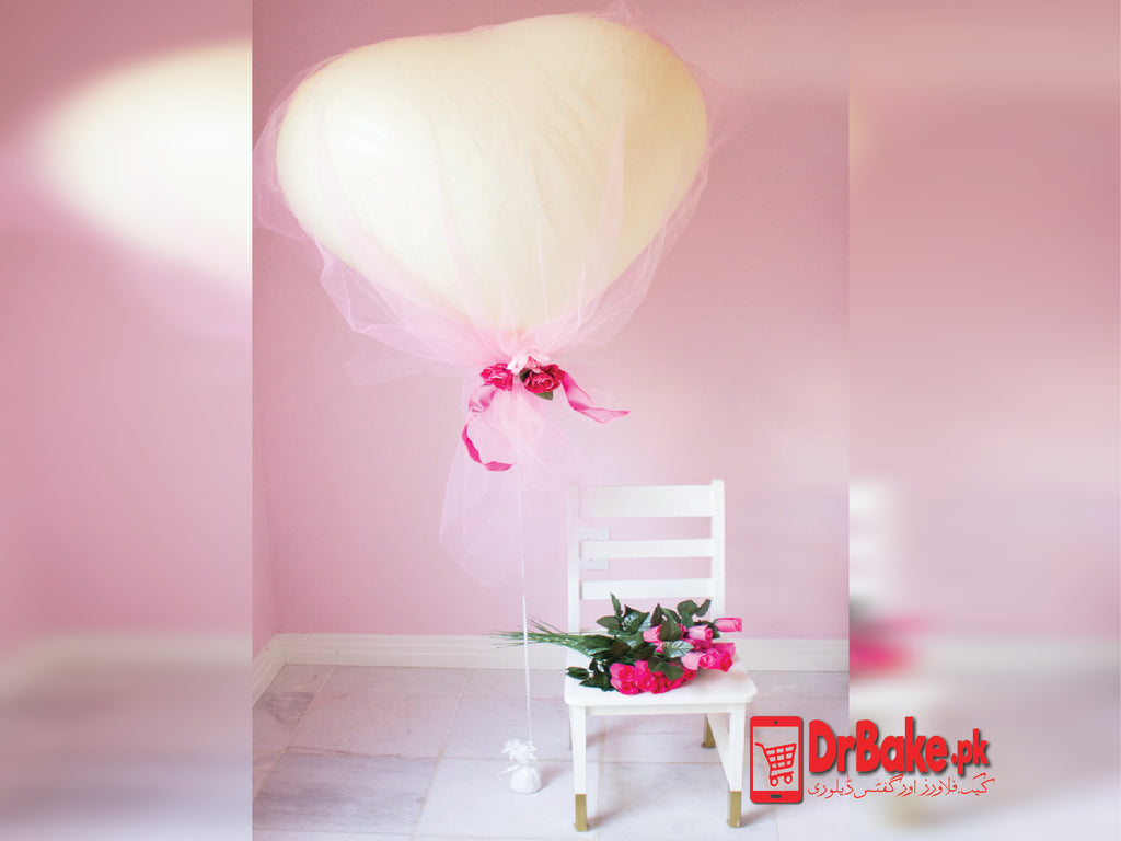 Send Heart Shape Balloon With Chocolate Pouch & Roses to Lahore with D…
