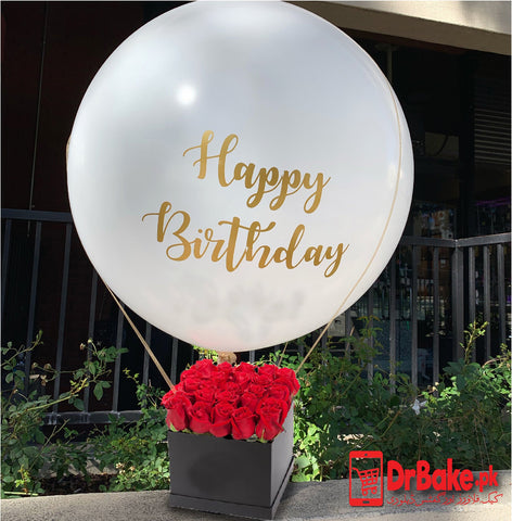 24 Fresh Red Roses Basket With Huge Balloon