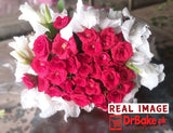 24 Red Fresh Roses Tied With Additional Glad Bouquet - Dr Bake Pakistan Send gifts to Lahore, Karachi, Islamabad, Pakistan
