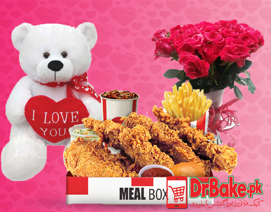 KFC Boneless Box With Teddy Bear - Valentine's Day Special - Dr Bake Pakistan Send gifts to Lahore, Karachi, Islamabad, Pakistan