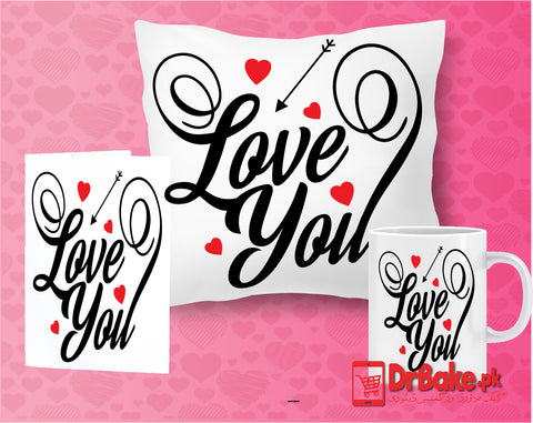 Love You Customize Cushion, Mug & Card Combo