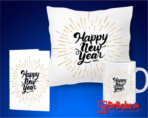New Year Customize Cushion, Mug & Card Combo