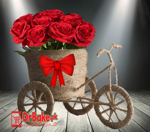 Red Roses in Cycle - Dr Bake Pakistan Send gifts to Lahore, Karachi, Islamabad, Pakistan