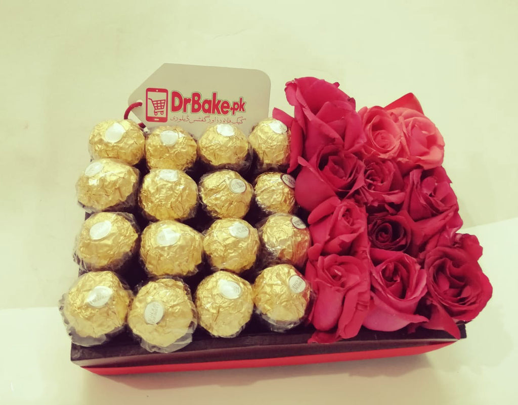 Fresh 12 Roses & 16Pcs Ferrero Rocher Wooden Tray - Dr Bake Pakistan Send gifts to Lahore, Karachi, Islamabad, Pakistan