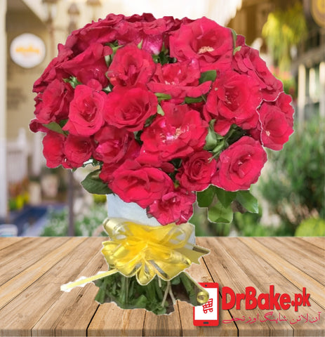 50 Fresh Red Roses Stem
