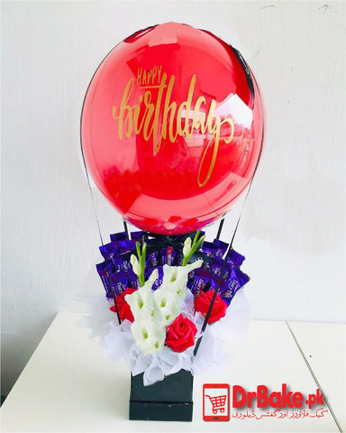 Surprise Box of Fresh Flowers, Chocolates & Balloon