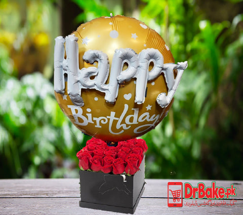 24 Fresh Red Roses in Box With Birthday Foil Balloon - Lahore Only