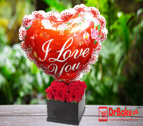 24 Fresh Red Roses in Gift Box With I Love You Foil Balloon - Lahore Only