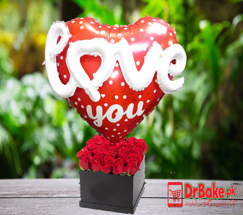 24 Fresh Red Roses in Box With Love You Foil Balloon - Lahore Only