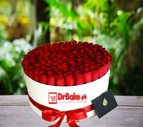 101 Fresh Red Roses Stems Round Box