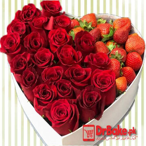 24 Red Roses with 1 Kg Strawberry in Heart Shaped Box-Lahore only