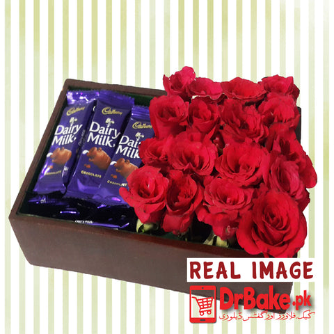 Fresh 12 Roses & 24 Dairy Milk Wooden Tray - Dr Bake Pakistan Send gifts to Lahore, Karachi, Islamabad, Pakistan