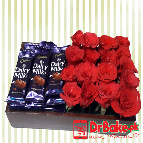 Fresh Roses & Dairy Milk Wooden Tray - Dr Bake Pakistan Send gifts to Lahore, Karachi, Islamabad, Pakistan