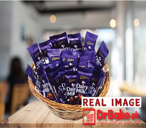 Dairy Milk Basket+ FREE GIFT PACKING (24 Pcs 8 gram each) - Dr Bake Pakistan Send gifts to Lahore, Karachi, Islamabad, Pakistan