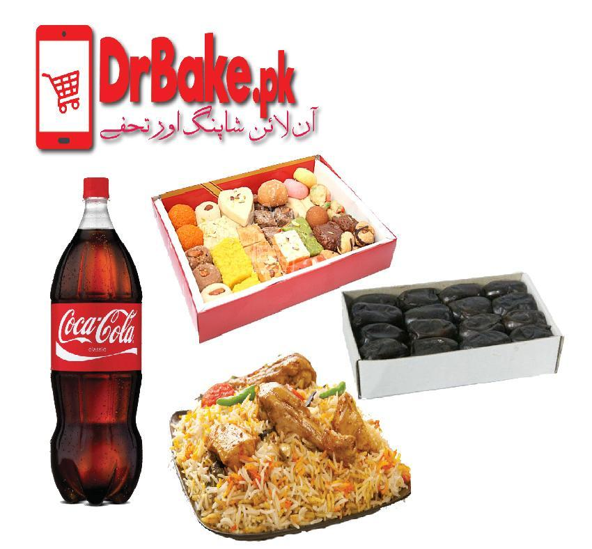 Biryani & Cold Drink With Khajoor & Mithai - Dr Bake Pakistan Send gifts to Lahore, Karachi, Islamabad, Pakistan