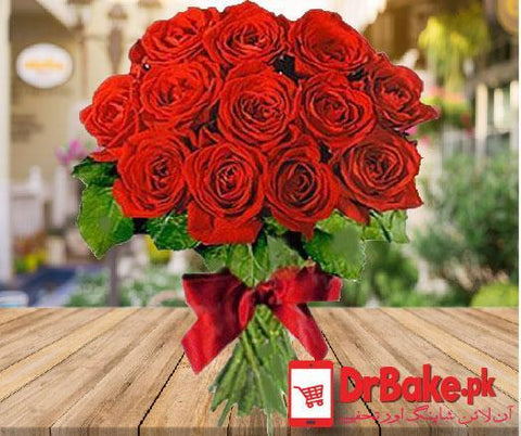 12 Stems of Imported Fresh Roses - Dr Bake Pakistan Send gifts to Lahore, Karachi, Islamabad, Pakistan