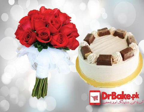Kitkat Cake With Red Roses - Dr Bake Pakistan Send gifts to Lahore, Karachi, Islamabad, Pakistan
