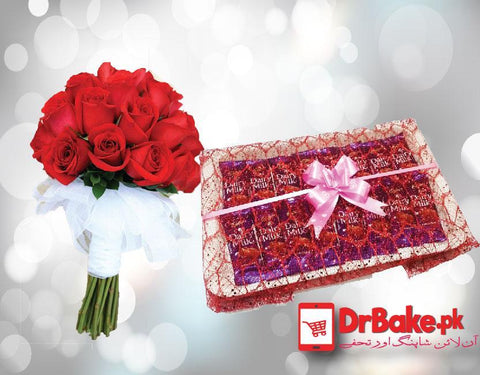 Dairy Milk Tray With Red Roses. - Dr Bake Pakistan Send gifts to Lahore, Karachi, Islamabad, Pakistan