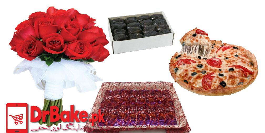 Flowers & Chocolates Tray With Pizza & Khajoor - Dr Bake Pakistan Send gifts to Lahore, Karachi, Islamabad, Pakistan