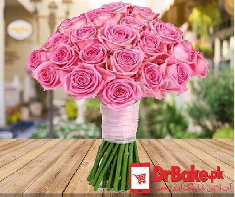 Send 12 Stems of Imported Fresh Pink Roses To Pakistan | DrBake.pk
