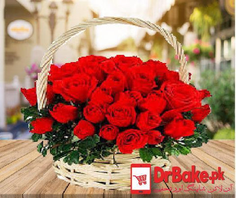 24 Red Fresh Roses in Small Basket - Dr Bake Pakistan Send gifts to Lahore, Karachi, Islamabad, Pakistan