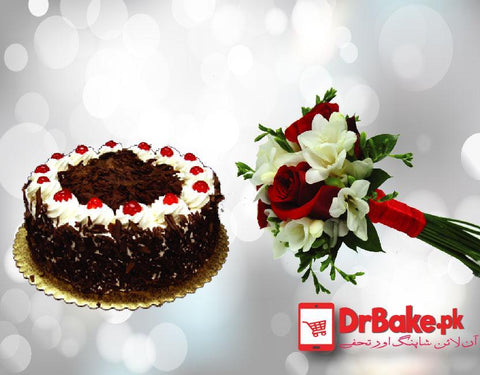 Gladiolus Bouquet With Black Forest cake. - Dr Bake Pakistan Send gifts to Lahore, Karachi, Islamabad, Pakistan